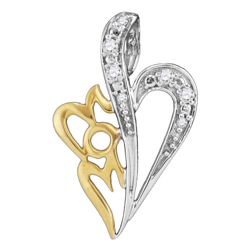Gold-N-Diamonds, Inc. (Atlanta) Sterling Silver Womens Round Diamond Mom Heart Love Pendant 1/8 Cttw