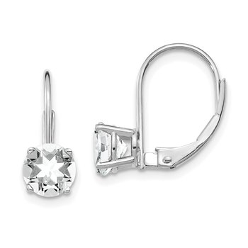 14k White Gold 6mm Cubic Zirconia Leverback Earrings