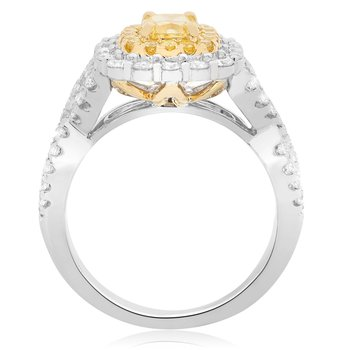 Two Tone Diamond Criss Cross Ring