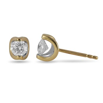 14K YG Diamond Moonshine Stud Earrings in 0.50 Cts