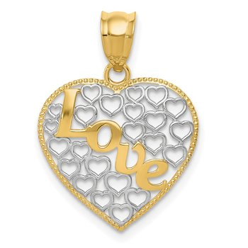 14k w/ Rhodium Diamond-cut Love Heart Pendant
