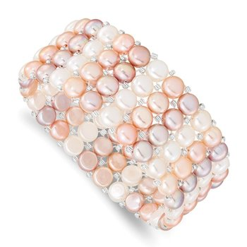 6-7mm Button FWC Pearl & Glass Beaded 4-row Stretch Bracelet