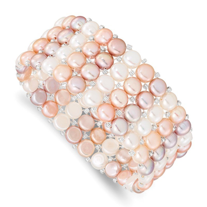 Quality Gold 6-7mm Button FWC Pearl & Glass Beaded 4-row Stretch Bracelet