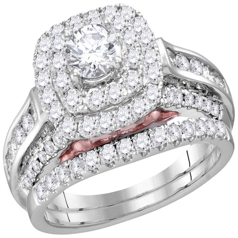 Bellissimo 14kt White Gold Womens Round Diamond Bellissimo Bridal Wedding Engagement Ring Band Set 5/8 Cttw