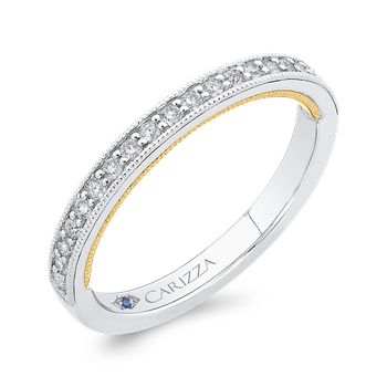 Round Cut Diamond Half-Eternity Wedding Band In 18K Two-Tone Gold