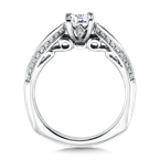 Valina Bridals Mounting with side stones .16 ct. tw., 1/2 ct. Princess cut center.