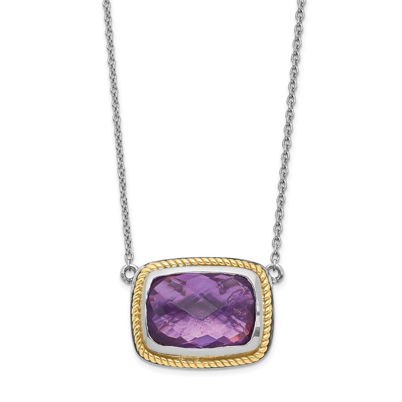 Quality Gold Sterling Silver w/14k Square Amethyst Necklace