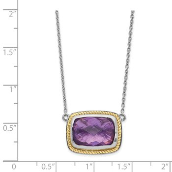 Sterling Silver w/14k Square Amethyst Necklace