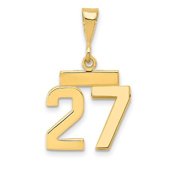 14k Small Polished Number 27 Charm
