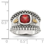 Quality Gold Sterling Silver w/14k Garnet Ring
