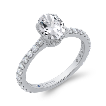 Oval Diamond Engagement Ring In 18K White Gold (Semi-Mount)