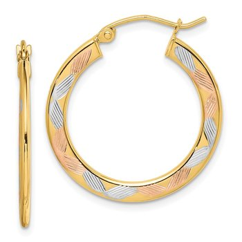 14k w/White and Rose Rhodium Diamond-cut Hoop Earrings