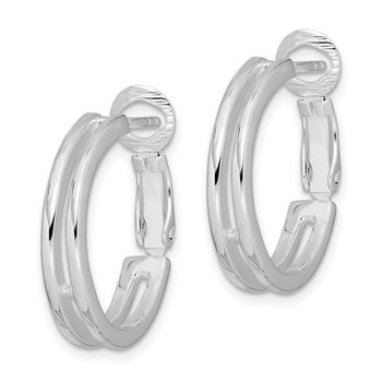 Sterling Silver Polished 4mm Omega Back Hoop Earrings