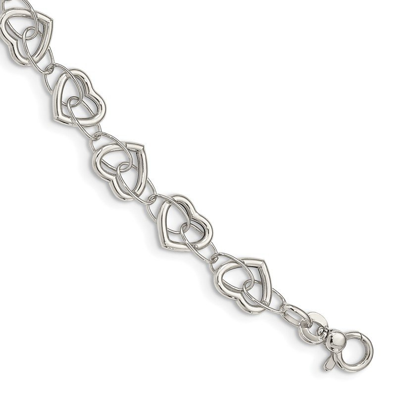 Quality Gold Sterling Silver 7.5in Polished Heart Link Bracelet