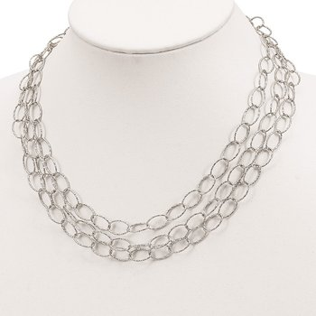Sterling Silver Layered Hammered Fancy Link Necklace