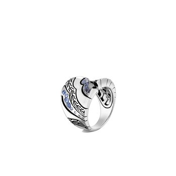 Lahar Saddle Ring in Silver with Gemstone