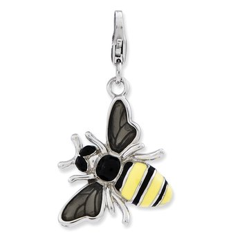 Sterling Silver Amore La Vita Rhodium-pl Enameled 3-D Bubble Bee Charm