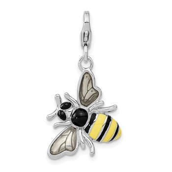 Sterling Silver RH Enameled 3-D Yellow Jacket w/Lobster Clasp Charm