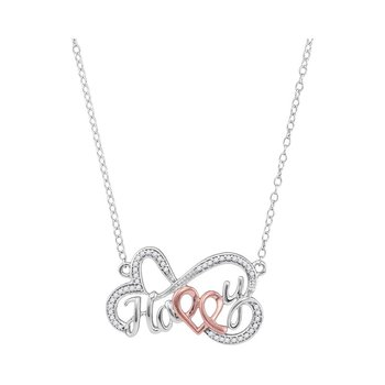 10kt White Gold Womens Round Diamond Heart Happy Pendant Necklace 1/8 Cttw