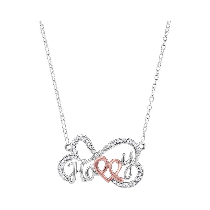 Kingdom Treasures 10kt White Gold Womens Round Diamond Heart Happy Pendant Necklace 1/8 Cttw