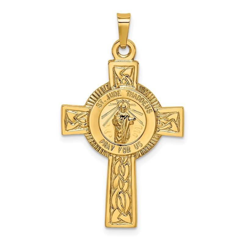 Quality Gold 14k Cross w/St. Jude Medal Pendant