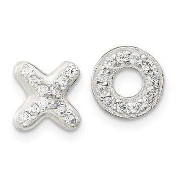 Sterling Silver CZ X and O Post Earrings