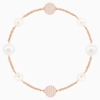 Swarovski Remix Collection Round Pearl Strand, White, Rose-gold tone plated