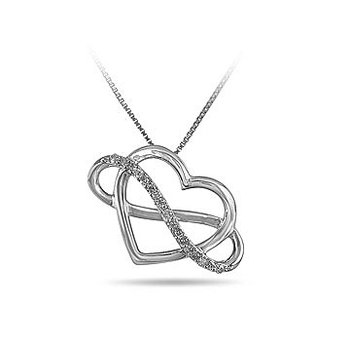 SS9 and Diamond Infinity Heart Pendant in Prong Setting