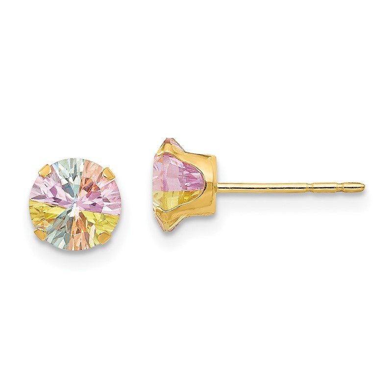 Quality Gold 14k Madi K Multi-color CZ 6mm Post Earrings