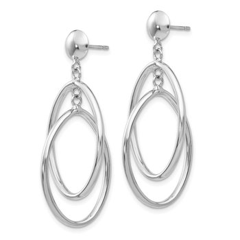 14k White Gold Double Oval Dangle Post Earrings