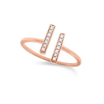 Diamond Double Bar ring in 14K Rose Gold with 14 Diamonds Weighing .07 ct tw