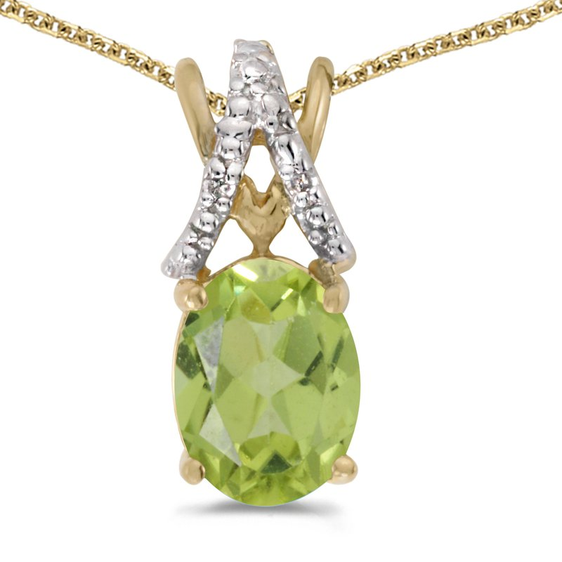 Color Merchants 14k Yellow Gold Oval Peridot And Diamond Pendant