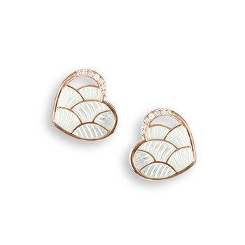 White Heart Stud Earrings.Rose Gold Plated Sterling Silver-White Sapphires