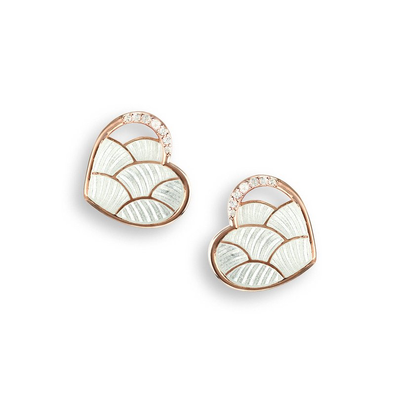 Nicole Barr Designs White Heart Stud Earrings.Rose Gold Plated Sterling Silver-White Sapphires