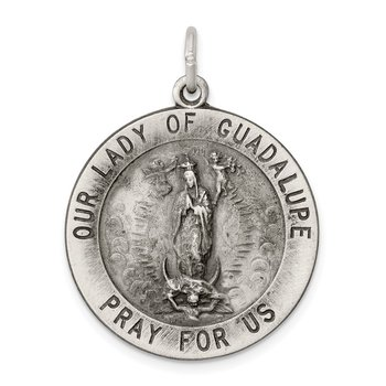 Sterling Silver Antiqued Our Lady of Guadalupe Medal