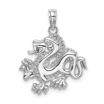 14K White Gold Small Dragon Charm