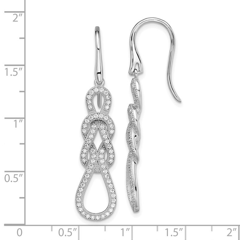 Quality Gold SS Rhodium-Plated CZ Brilliant Embers Love Knot Earrings