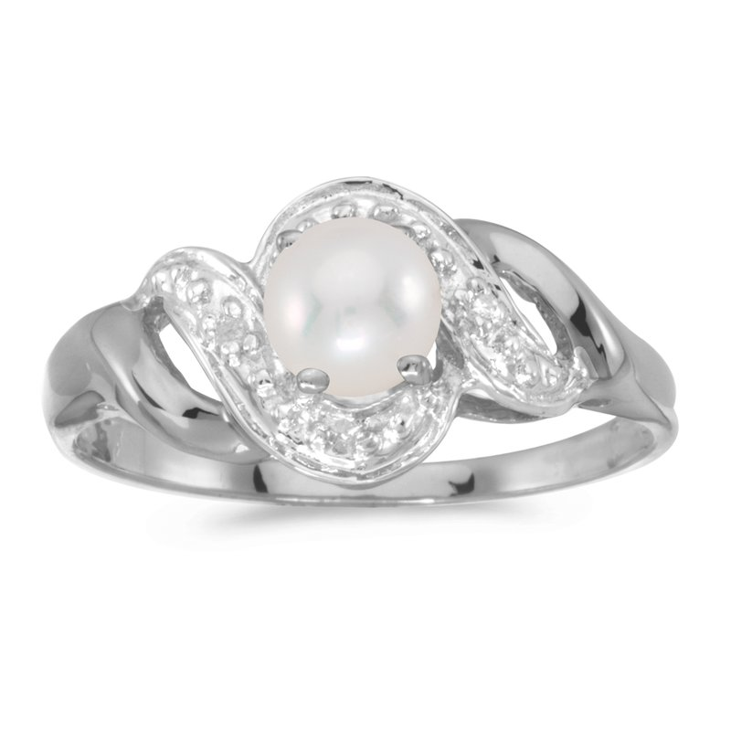 Color Merchants 10k White Gold Freshwater Cultured Pearl And Diamond Swirl Ring