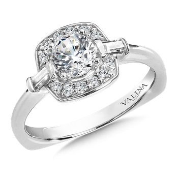 Halo Engagement Ring Mounting in 14K White Gold (.18 ct. tw.)