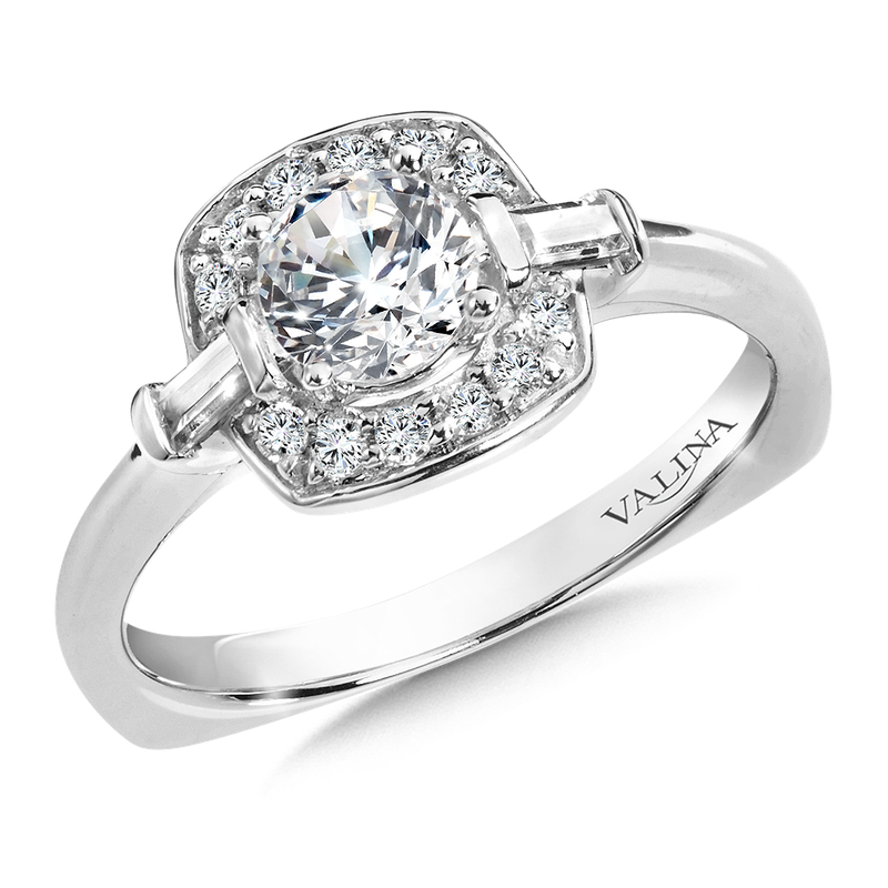 Valina Halo Engagement Ring Mounting in 14K White Gold (.18 ct. tw.)