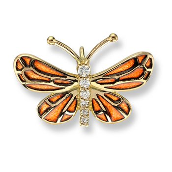 Orange Butterfly Pendant.18K -Diamond - Plique-a-Jour