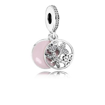 Springtime Dangle Charm, Soft Pink Enamel & Clear CZ