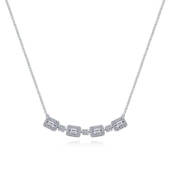 14k White Gold Rectangular Diamond Fashion Necklace