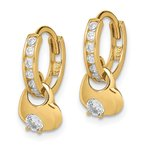 Lester Martin Online Collection 14k Madi K CZ Hinged Hoop with Heart Dangle Post Earrings