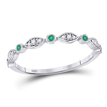 10kt White Gold Womens Round Emerald Diamond Marquise Dot Stackable Band Ring 1/8 Cttw