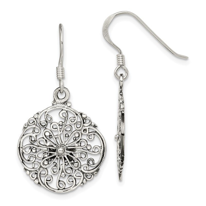 Quality Gold Sterling Silver Antiqued Filigree Dangle Earrings