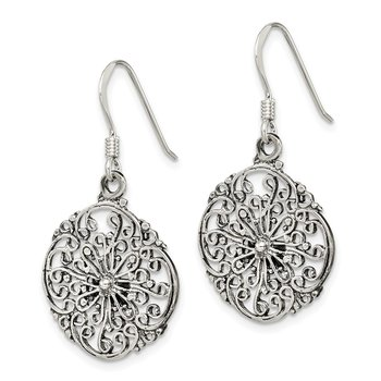 Sterling Silver Antiqued Filigree Dangle Earrings