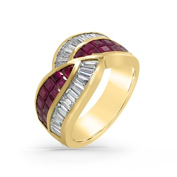 18K Yellow Gold Diamond Ruby Wide Band