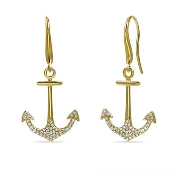 14K anchor earrings with 86 Diamonds 0.27C TW