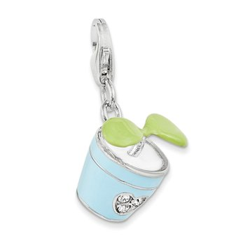 Sterling Silver RH w/Lobster Clasp 3-D Enameled Potted Plant Charm